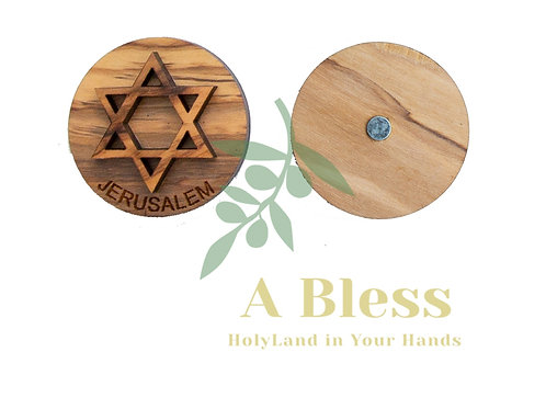 Round Olive Wood Star of David Magnet