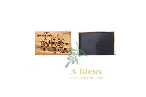 Olive Wood Pray for the Peace of Jerusalem Landscape Magnet