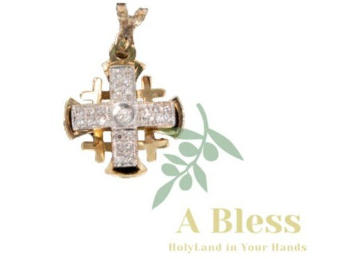 Jerusalem Cross with Small Diamond Cross inthe Middle Pendant