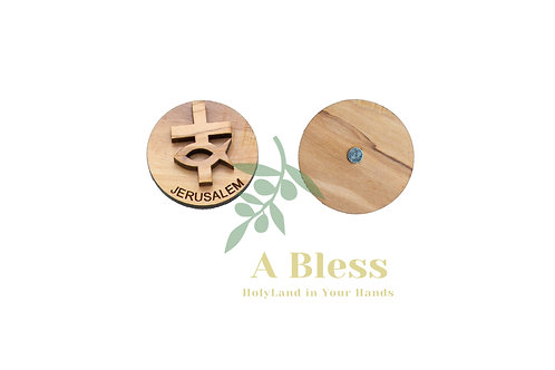 Round Olive Wood Cross & Fish Magnet