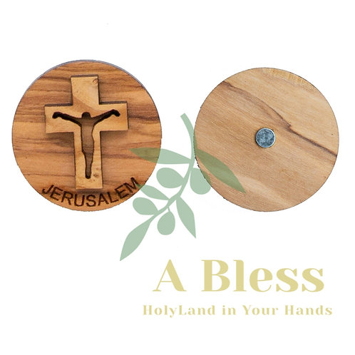 Round Olive Wood Cross Magnet (C)