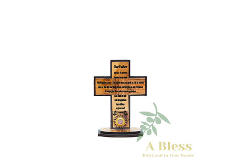 Hand Carved Olive Wood Cross with the Lord's Prayer