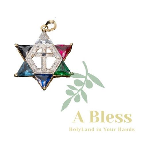 Star of David witj Diamond Cross Pendant
