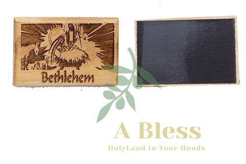 Olive Wood Jesus Grotto in Bethlehem Magnet