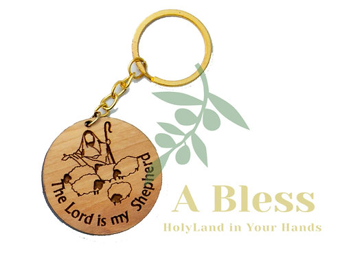 Round Olive Wood The Lord is my Shepherd Magnet  Key Chain