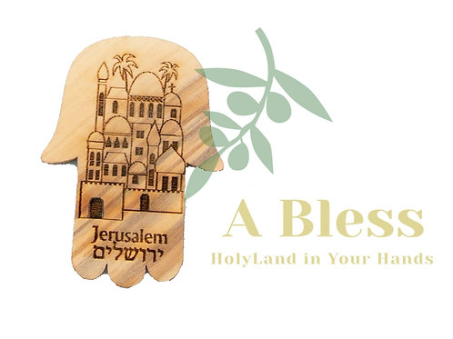 Olive Wood Palm City of Jerusalem Magnet