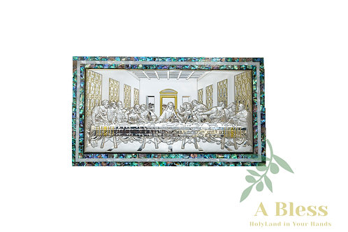 Mother of Pearl Frame with Silver Last Supper