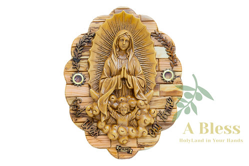 Virgin Mary & Jesus - Wall Hanging Plaque with Holy Land Incense