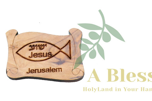 Olive wood with Jesus Name Magnet