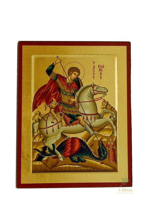 Saint George Hand Painted Icon on Canvas(L)