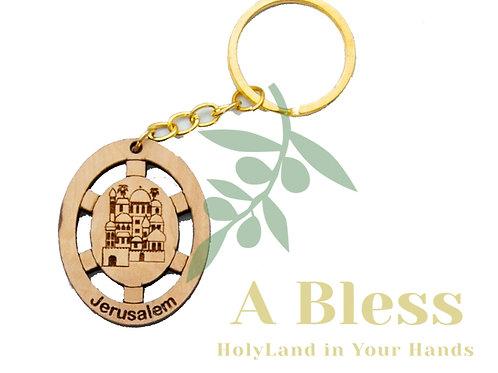 Oval Olive wood Jerusalem Key Chain
