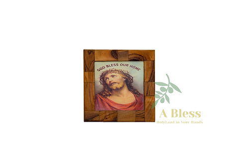 "Olive Wood Jesus & ""God Bless our Home"" Wall Hanging Plaque"