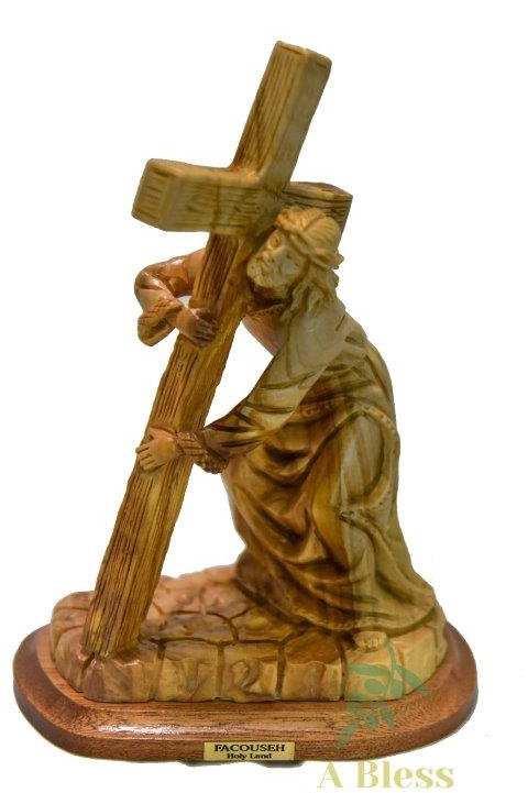 Olive Wood Jesus Holding Cross L