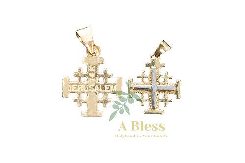 Jerusalem Cross with white Gold Cross