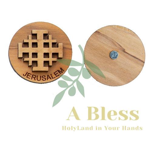 Round Olive Wood Jerusalem Cross Magnet