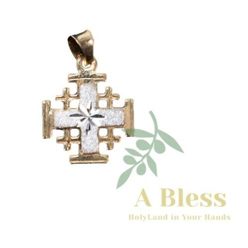 Layered Jerusalem Cross 2 Gold colors Carved on it Star of Bethlehem