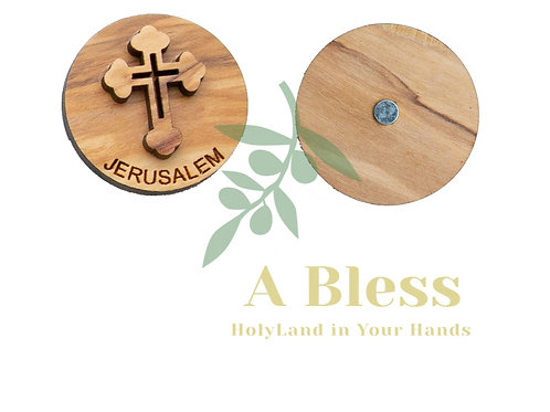 Round Olive Wood Cross Magnet (A)