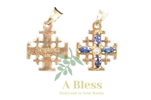 Amethyst  Cubic Zirconia Jerusalem Cross Pendant