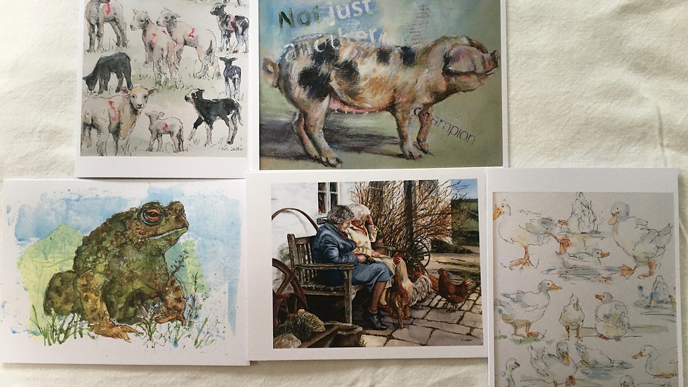 'Country animals' pack of greetings cards