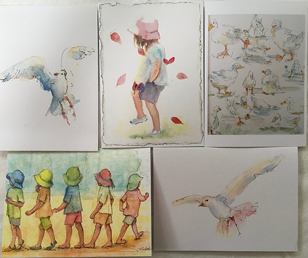 'Watercolour' pack of greetings cards