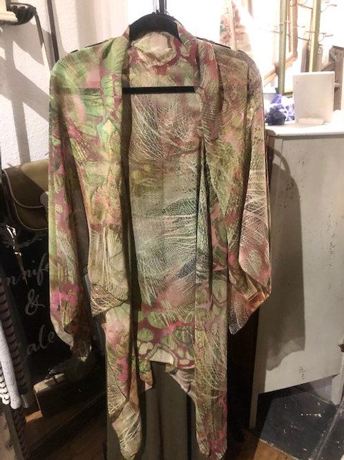 Kimono-Green & Pink