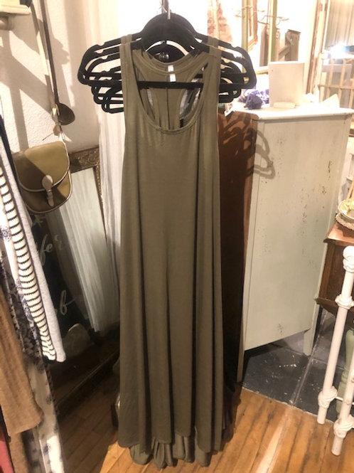 Jersey Knit Maxi Dress-Olive
