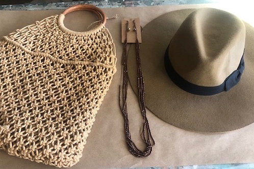 Boho Set-Tan Hat & Purse