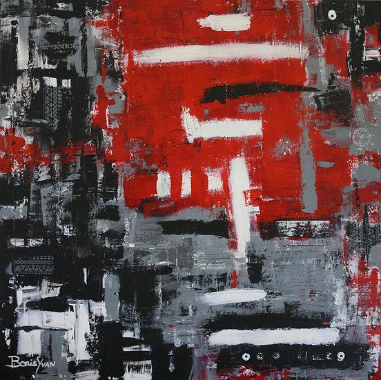 ABSTRACT BLACK, RED, WHITE #1 - Boris Yvan