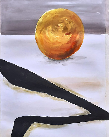 ABSTRACT ORANGE AND BLACK - Ivor Lawrence