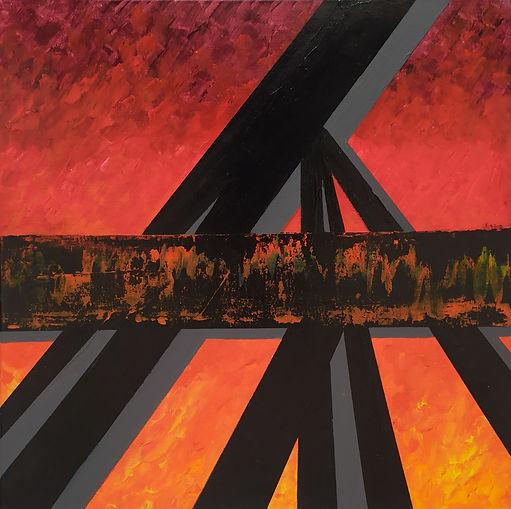 Bridge on fire 50x50cm acrylic on canvas