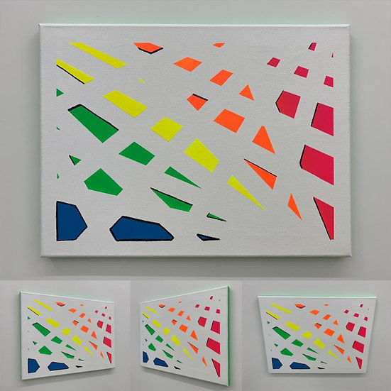 FRAGMENTED RAINBOW ON WHITE WITH GREEN ON EDGES - Fabian Freese