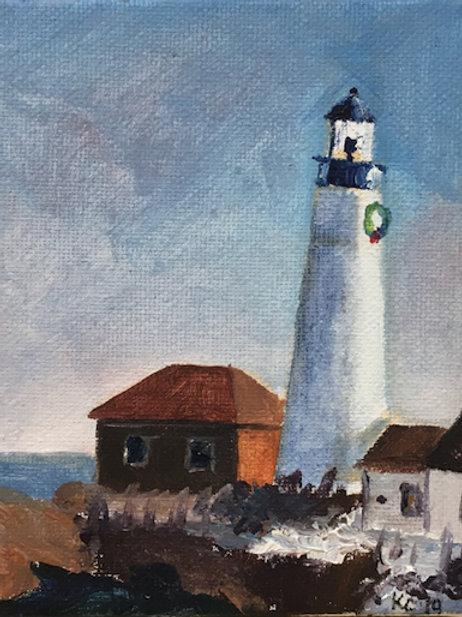 """Leading Light"" 5x4 original oil painting"