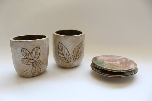 """""""Native Plants of Maine"""" ceramic plated tea cups"""