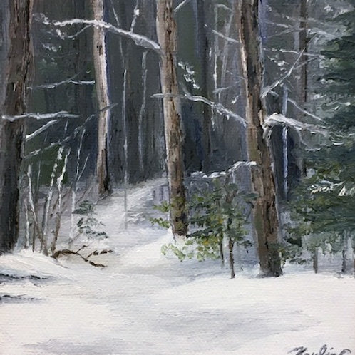 """""""Winter in Buxton"""" 5x5 original oil painting"""
