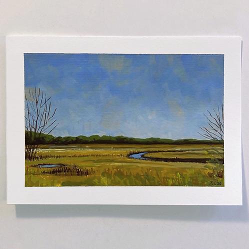 """""""Scarborough"""" 5x7 original gouache painting"""