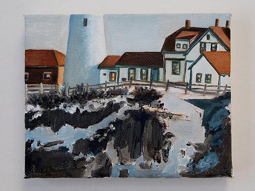 """Winter Head Light"" 5x4 original oil painting"