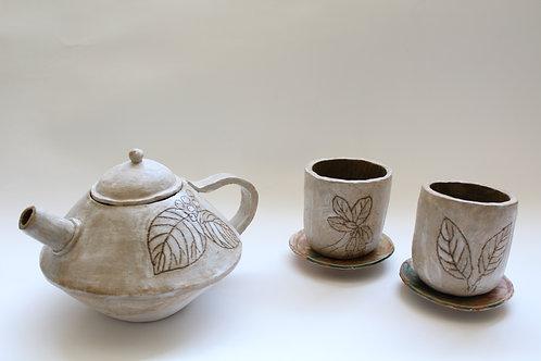 """Native Plants of Maine"" ceramic tea set"