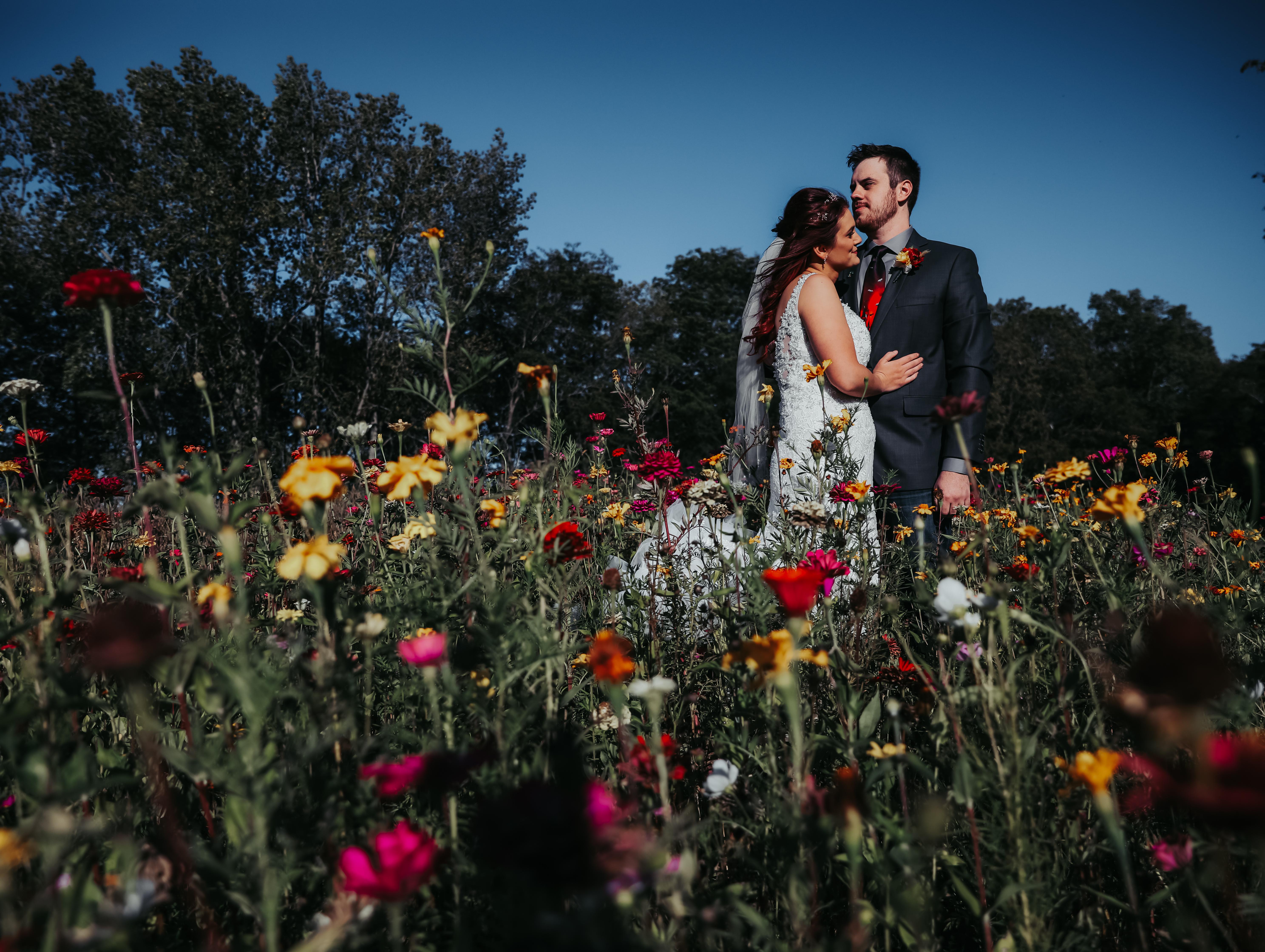 Illinois Farmstead Wedding in Wildflowers