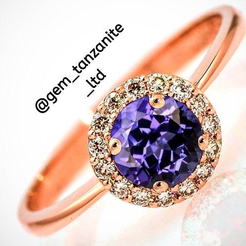 Tanzanite rose gold ring
