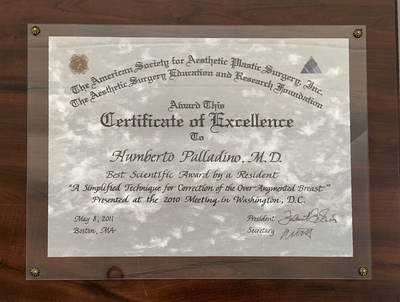 ASAPS Certificate of Excellence