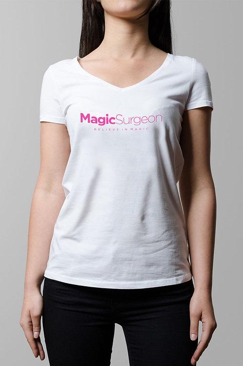 MagicSurgeon White T-Shirt Female V-Neck