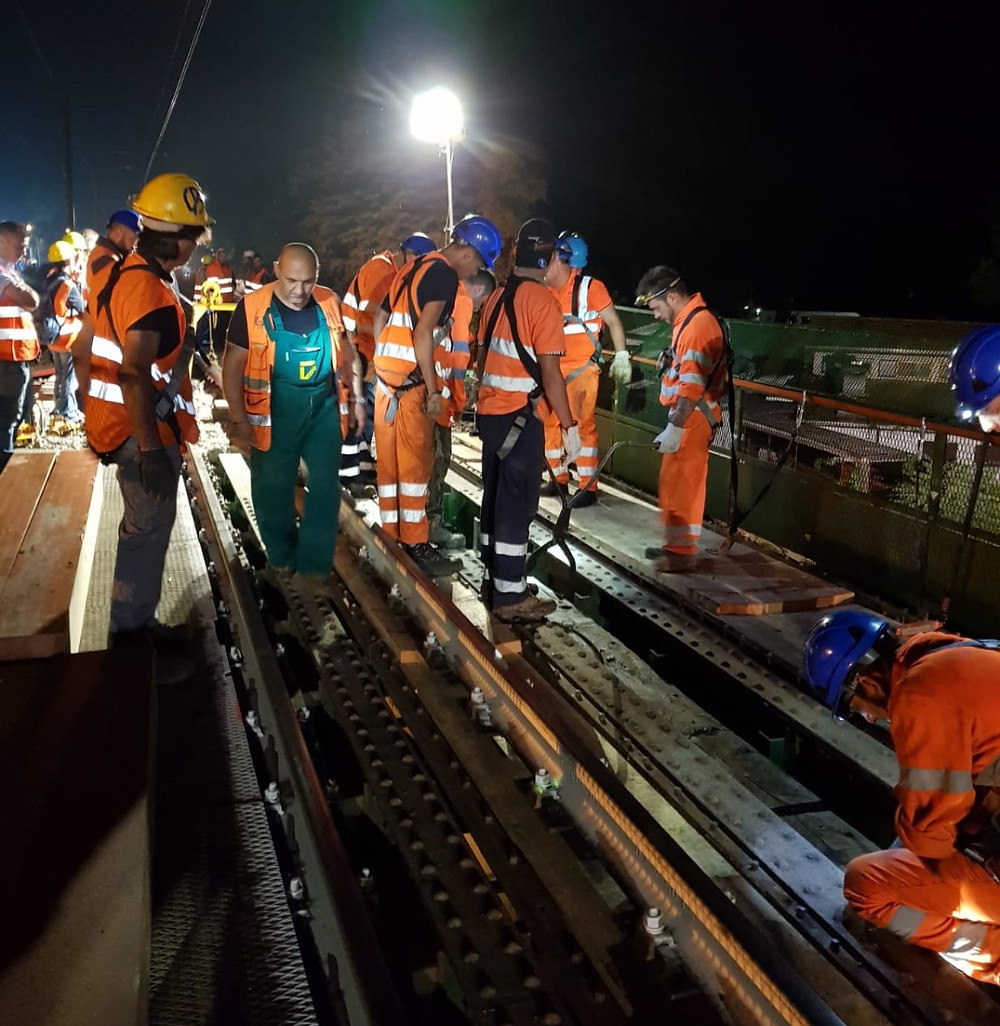 Crews install WS Group's Tracksure technology in place on Italian Bridge