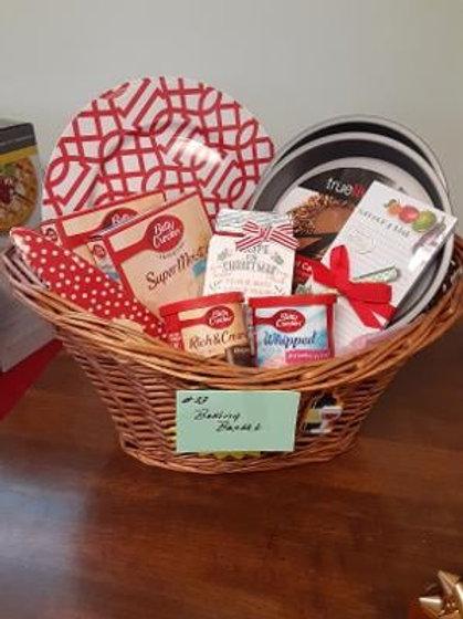 Item #23. Basket full of baking supplies. See below for more description.