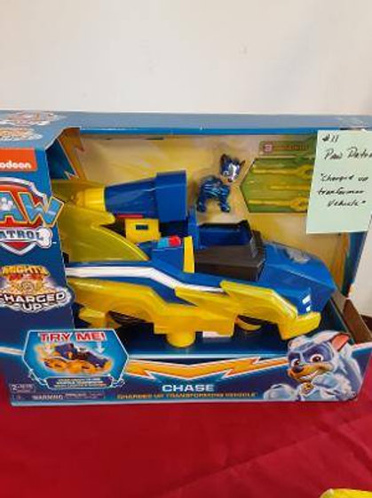 "Item # 11. Paw Patrol ""Charged Up Transformer"" vehicle. For ages 3+"