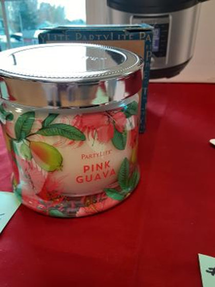 Item #59. Partylite three-wick candle. Pink Guava.