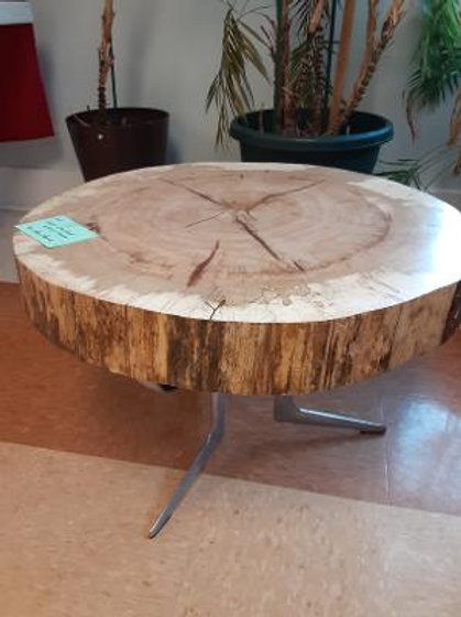 """Item #13. Hand-crafted live-edge wooden table by Steve Pavick. 26"""" diameter."""