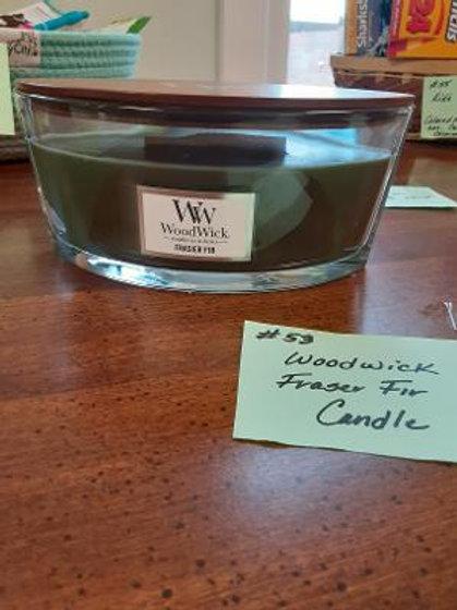 Item #53. Wood Wick fraser fir candle.