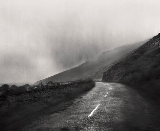 Ireland, road, misty morning, bw, blackandwhite, photoart