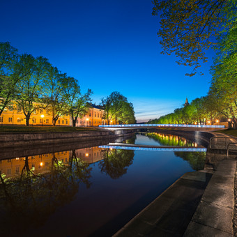 Summernight view with Library Bridge, River Aura