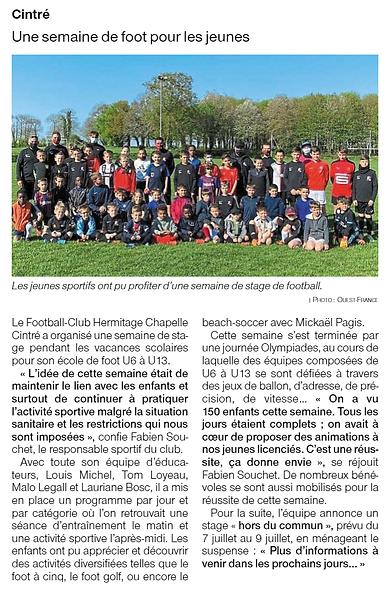 Une semaine de foot pour les jeunes